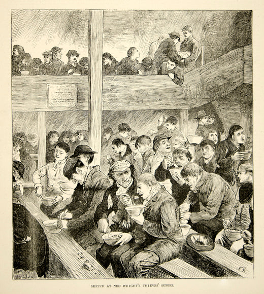 1870 Wood Engraving Ned Wright Thieves Supper Soup Kitchen London England YTG1