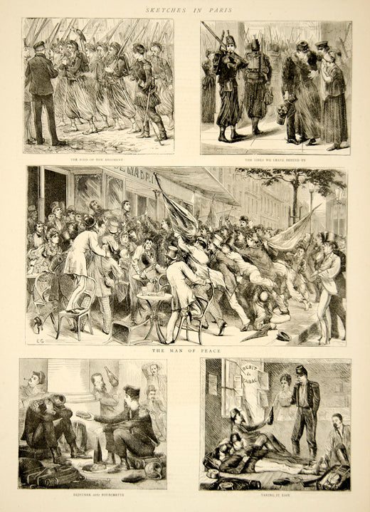 1870 Wood Engraving Franco-Prussian War Paris France Infantry Regiment YTG1