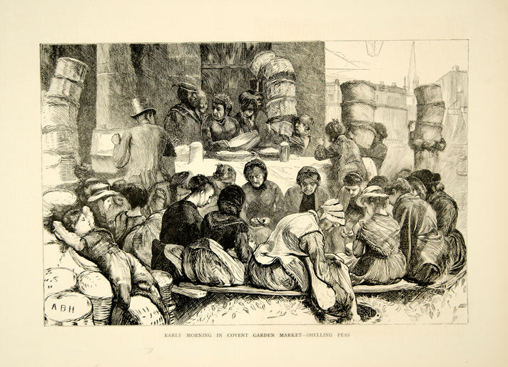 1870 Wood Engraving Covent Garden Market Peasants Shelling Peas London YTG1