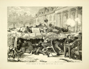 1870 Wood Engraving Franco-Prussian War Barricade Chateau Meudon France YTG1