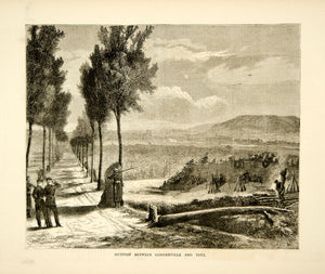 1870 Wood Engraving Franco-Prussian War Military Outpost Gondreville Toul YTG1