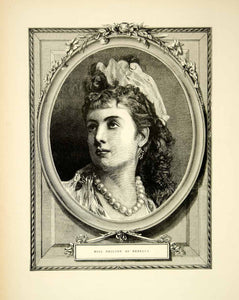 1871 Wood Engraving Art Victorian Portrait Woman Ms Neilson Rebecca Opera YTG2