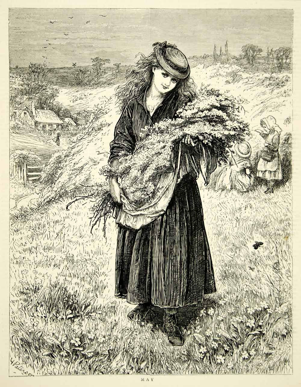 1871 Wood Engraving Art Nouveau Victorian Woman May Flowers Bouquet Fashion YTG2 - Period Paper