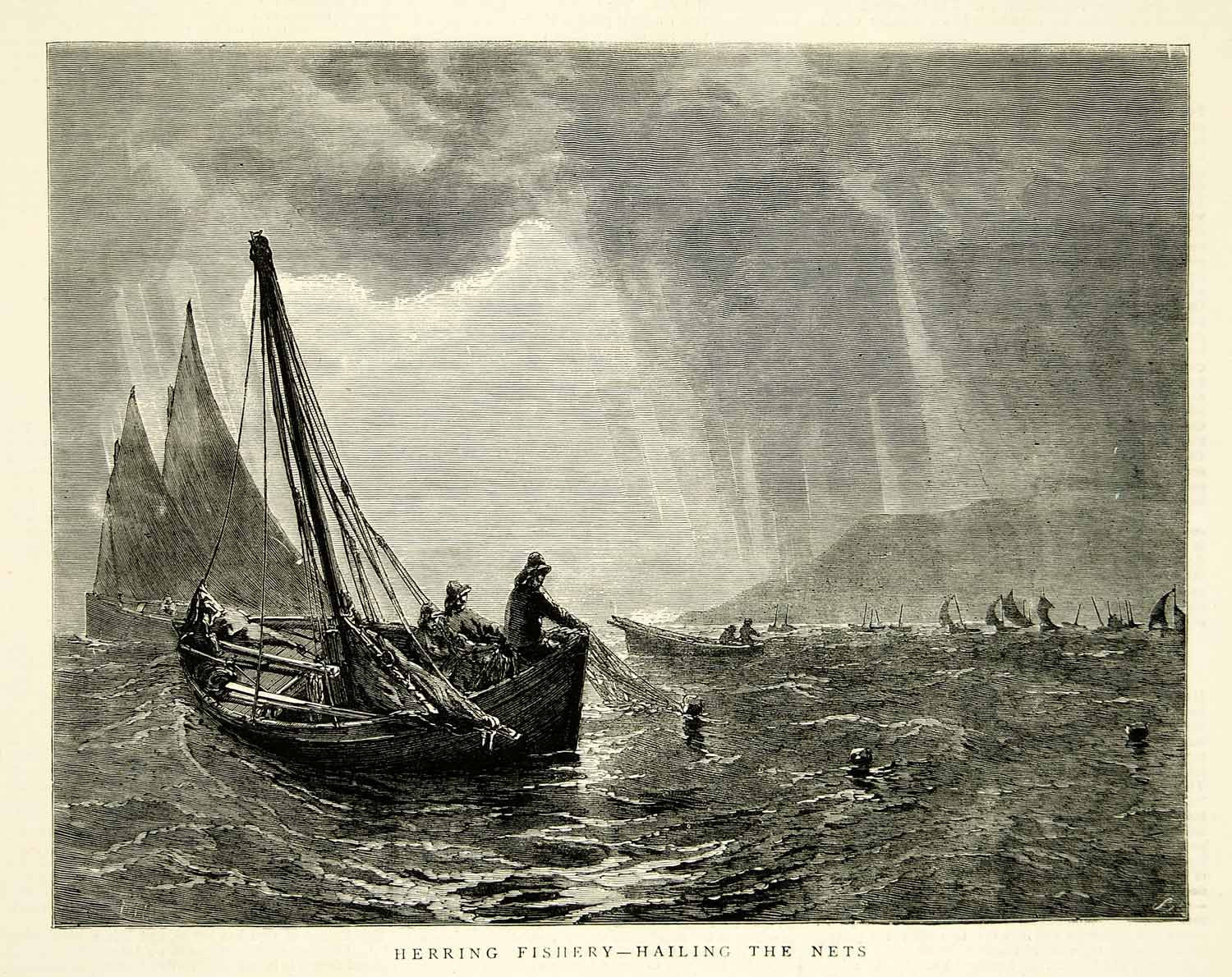 1871 Wood Engraving Art Herring Fishing Boat Hailing Nets Waves Tarbert YTG2 - Period Paper