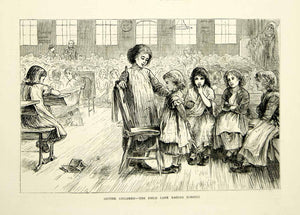 1871 Wood Engraving Art Victorian London England Gutter Children Orphans YTG2
