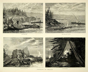 1872 Wood Engraving Art Canoeing Sweden Scandinavia Camping Sportsman YTG3