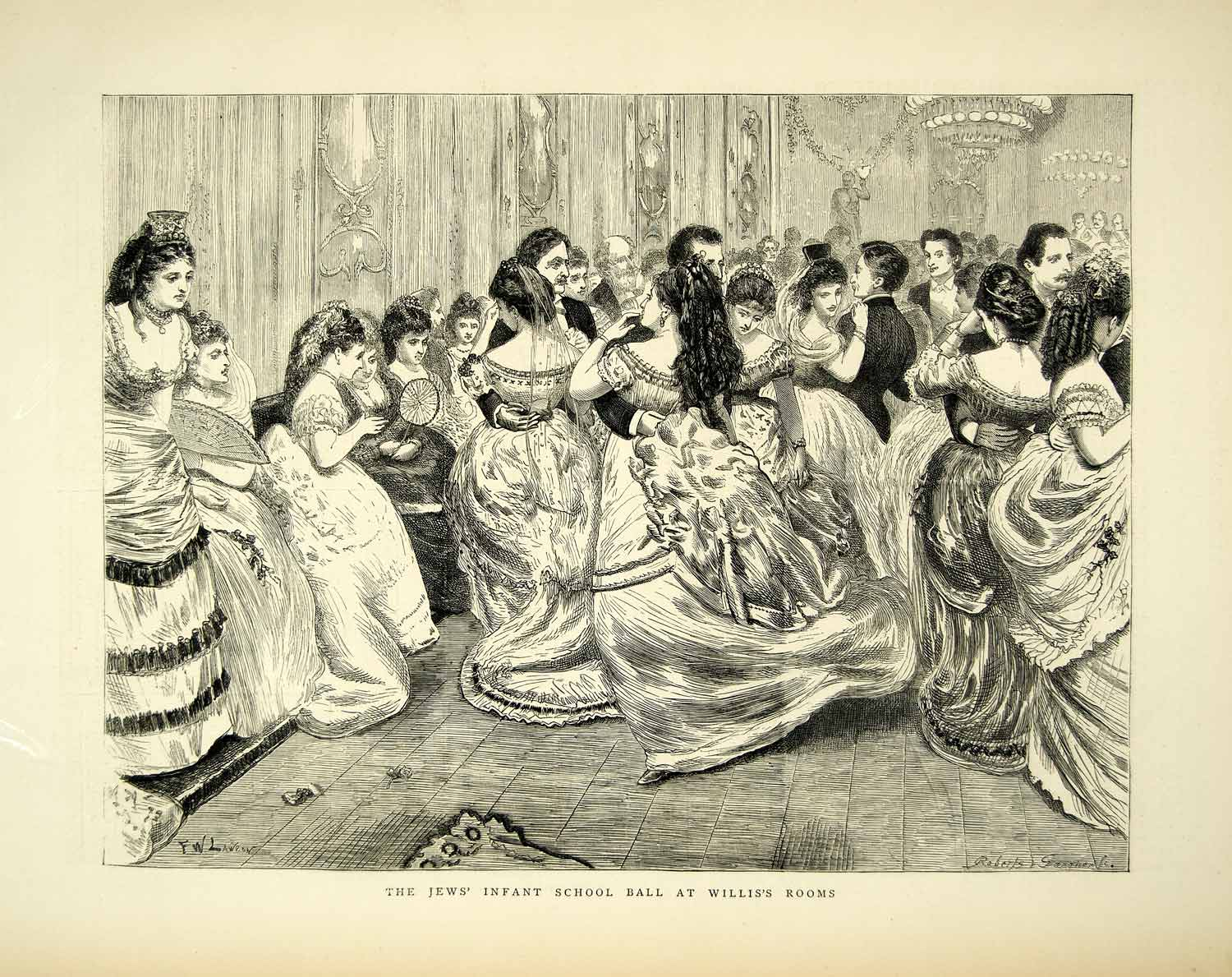 1872 Wood Engraving FW Lawson Art Ballroom Dance Jews Infant School Willis YTG3