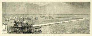 1872 Wood Engraving Art Breakwater Isle of Portland English Channel Harbor YTG3