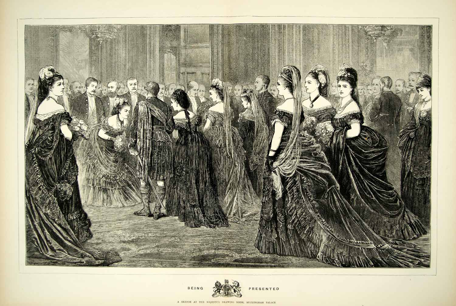 1872 Wood Engraving Art Drawing Room Buckingham Palace Royalty Victorian YTG3