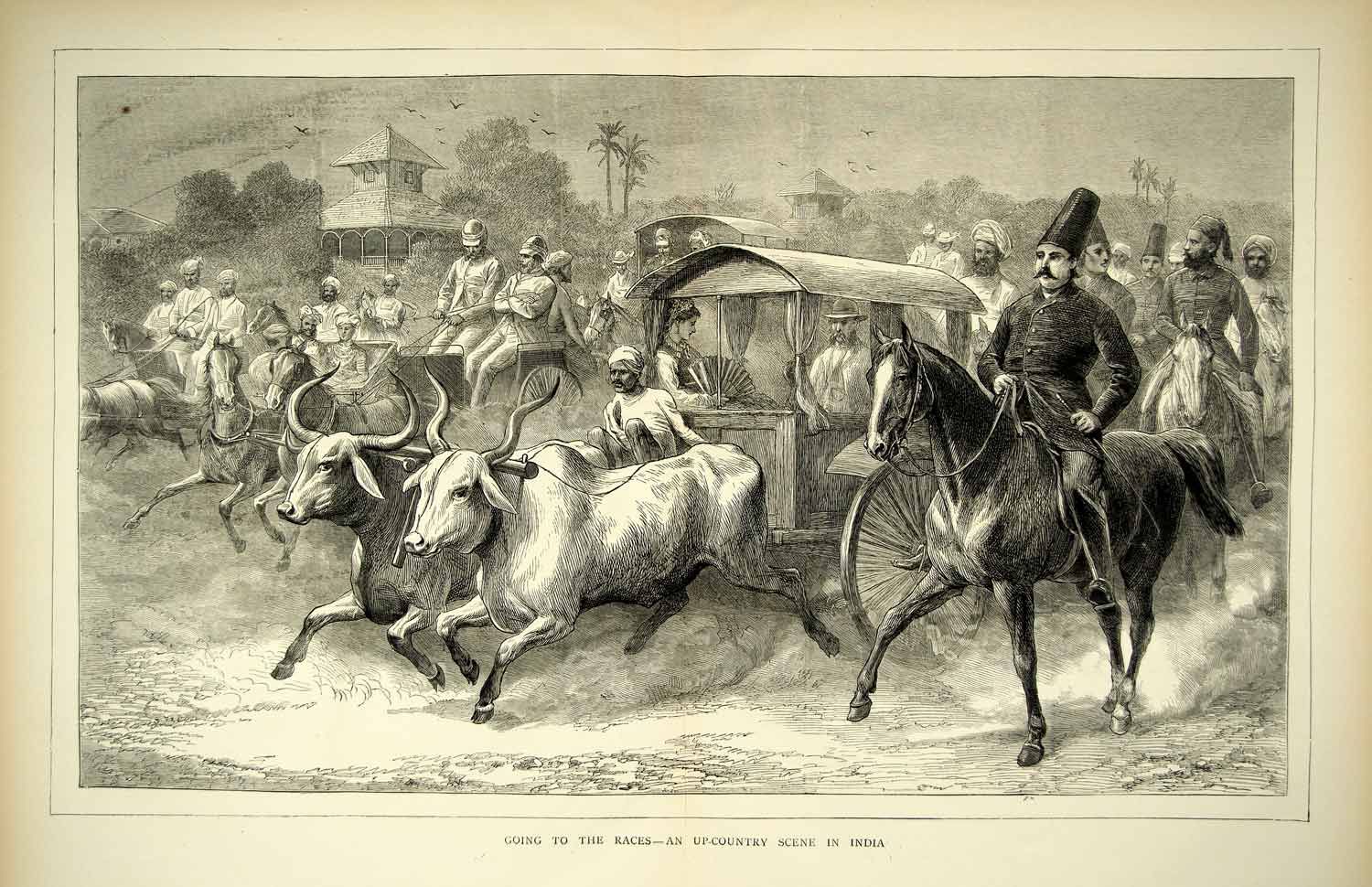 1872 wood engraving art horse race sports india asia