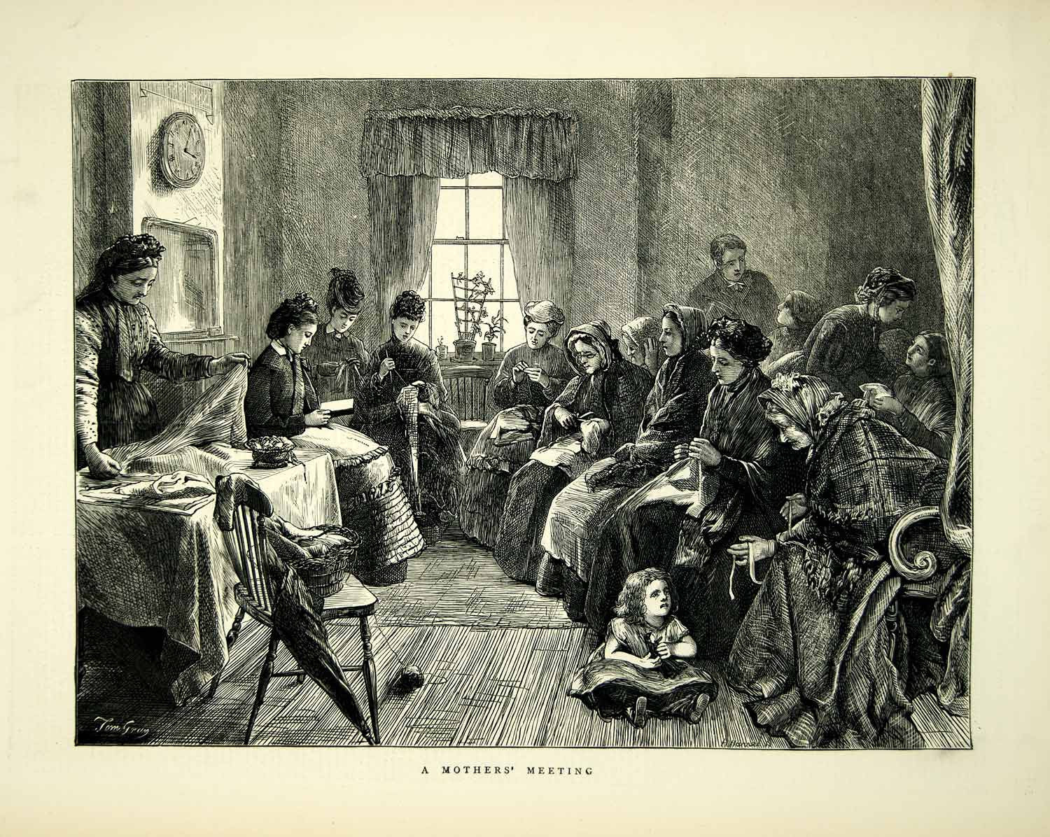 1872 Wood Engraving Tom Gray Art Mothers Meeting Portrait Sewing Victorian YTG4