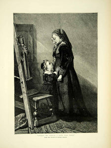 1872 Wood Engraving Madame Bisschop Art Mother Child Portrait Victorian Era YTG4