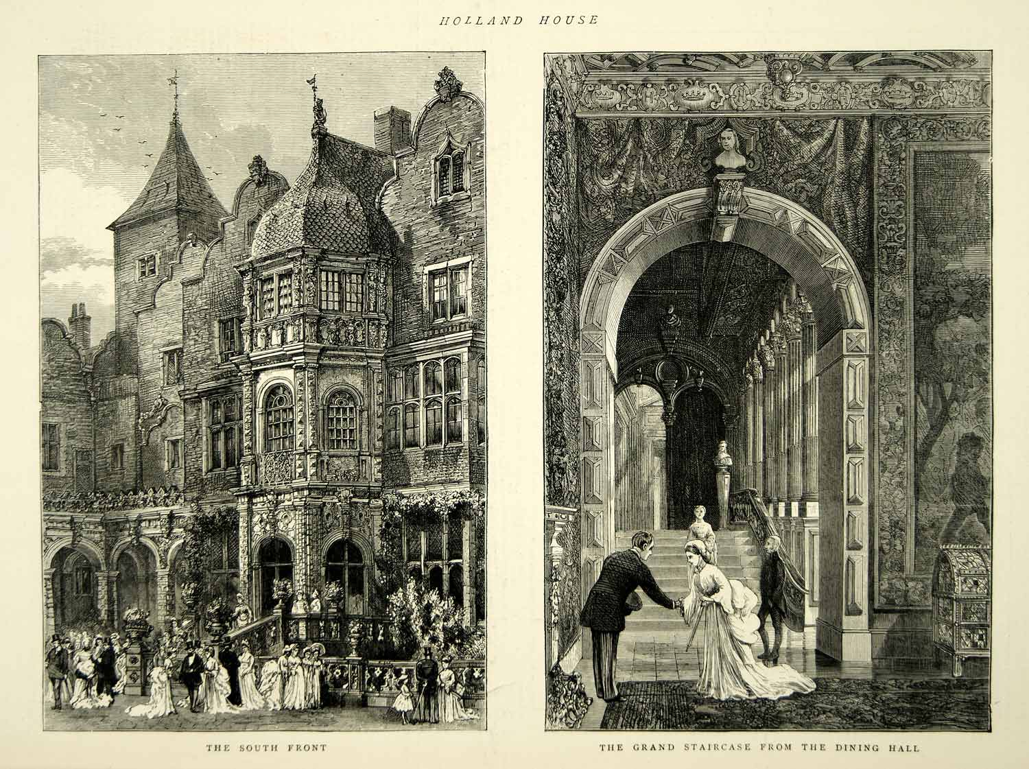 1872 Wood Engraving Art Holland House Grand Staircase Dining Hall London YTG4