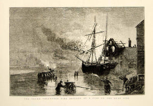 1873 Wood Engraving RH Carter Art Firefighter Brigade Truro England Ship YTG5