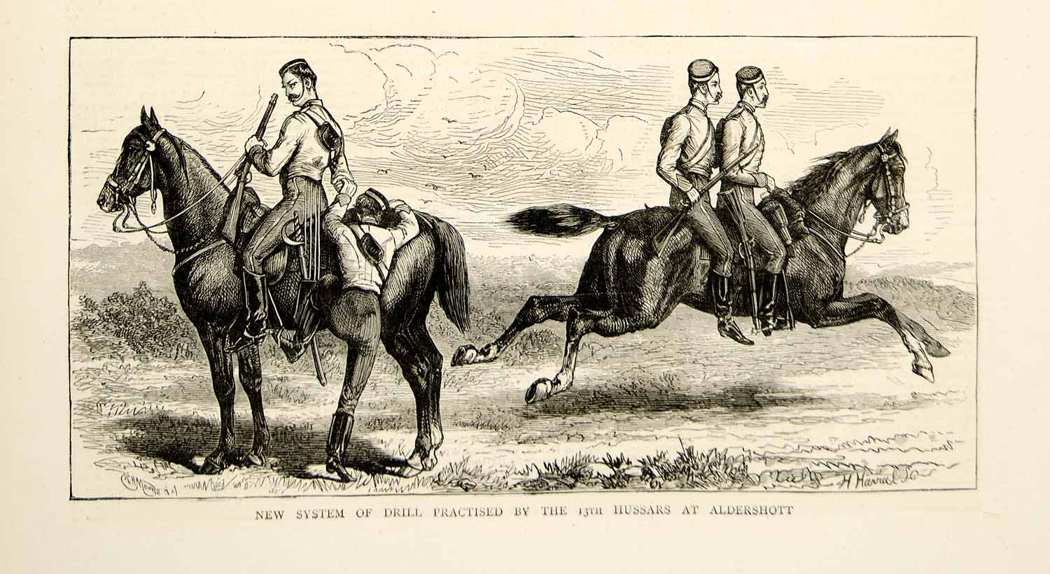 1873 Wood Engraving RH Moore Art 13th Hussars Light Dragoons Cavalry Horse YTG5