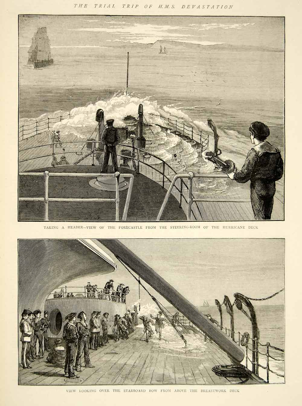 1873 Wood Engraving Art HMS Devastation Ship British Royal Navy Victorian YTG6