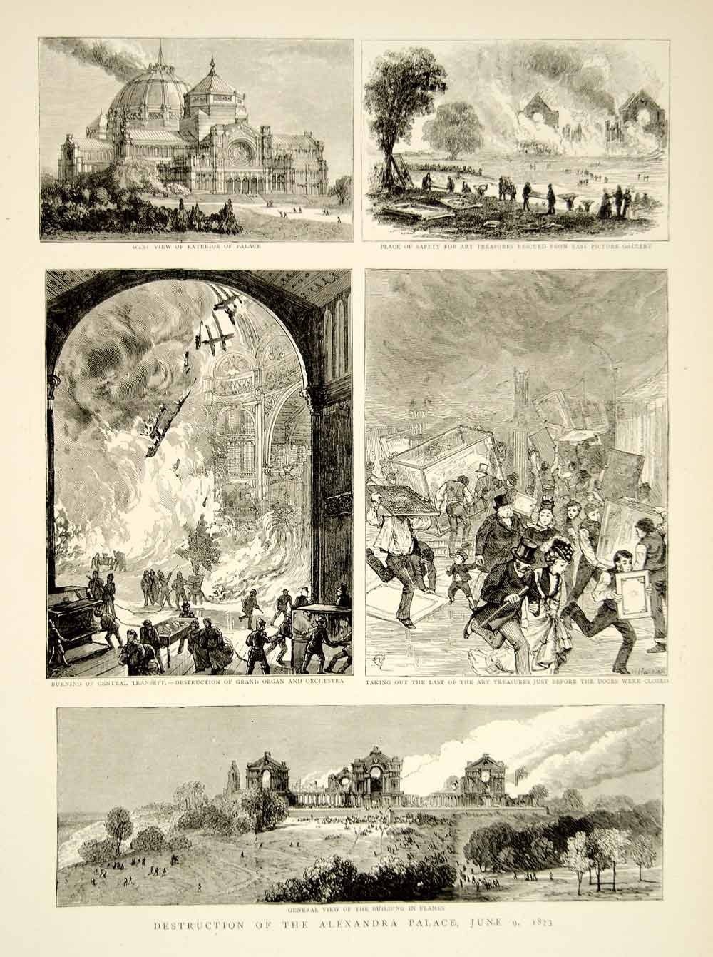 1873 Wood Engraving Art Alexandra Peoples Palace Fire London UK Victorian YTG6 - Period Paper