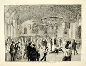1874 Wood Engraving Art Corn Exchange Roller Skating Rink Brighton England YTG8
