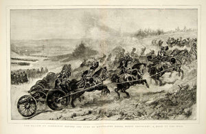 1874 Wood Engraving Art Royal Horse Artillery RHA British Army Aldershot UK YTG8