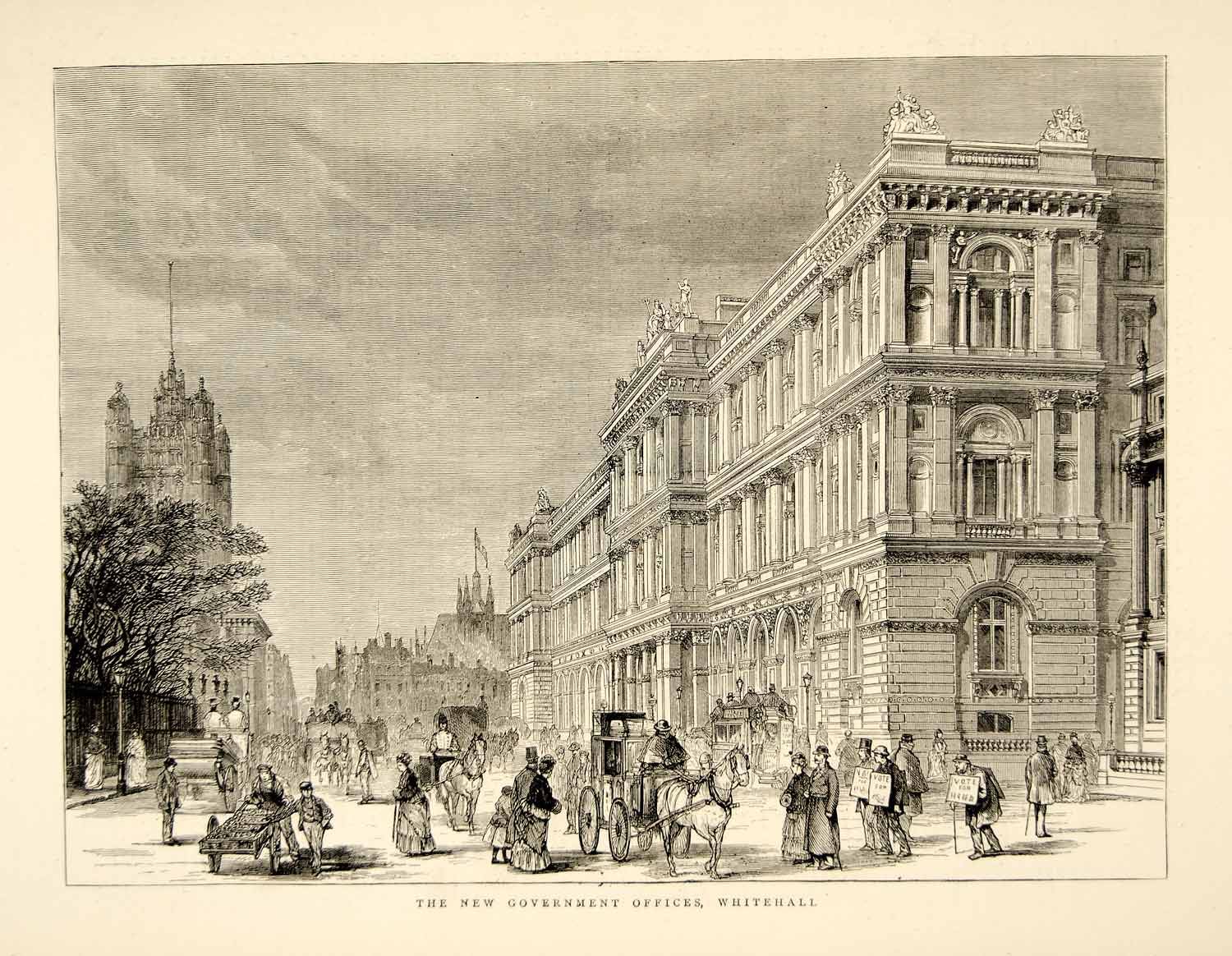1874 Wood Engraving Foreign Office Building British Government Whitehall UK YTG9