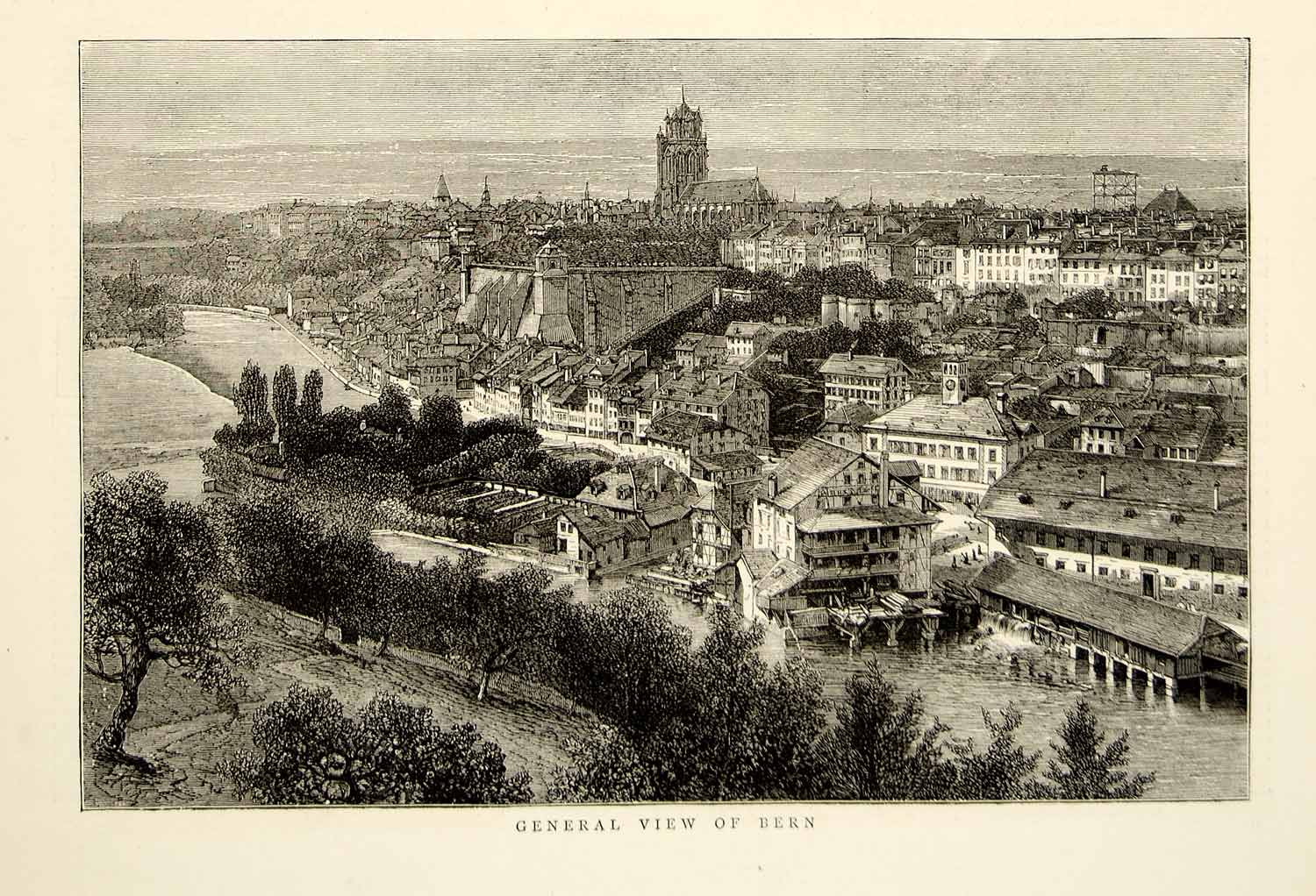 1874 Wood Engraving Bern Switzerland Europe Cityscape River Aare Swiss YTG9