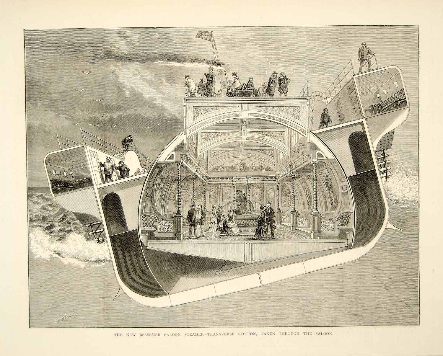 1874 Wood Engraving JR Brown Art SS Bessemer Saloon Steamship Swing Cabin YTGA1 - Period Paper