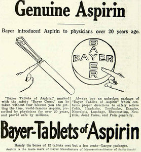 1920 Ad Vintage Bayer Aspirin Tablet Pill Pain Remedy Relief Medicine YTH1