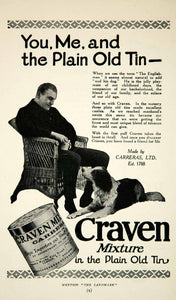 1926 Ad Craven Mixture Plain Old Tin Carreras Animal Dog Tobacco Cigar YTL1
