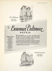 1924 Ad John McEntee Bowman Biltmore Hotel New York Commodore Architecture YTM1