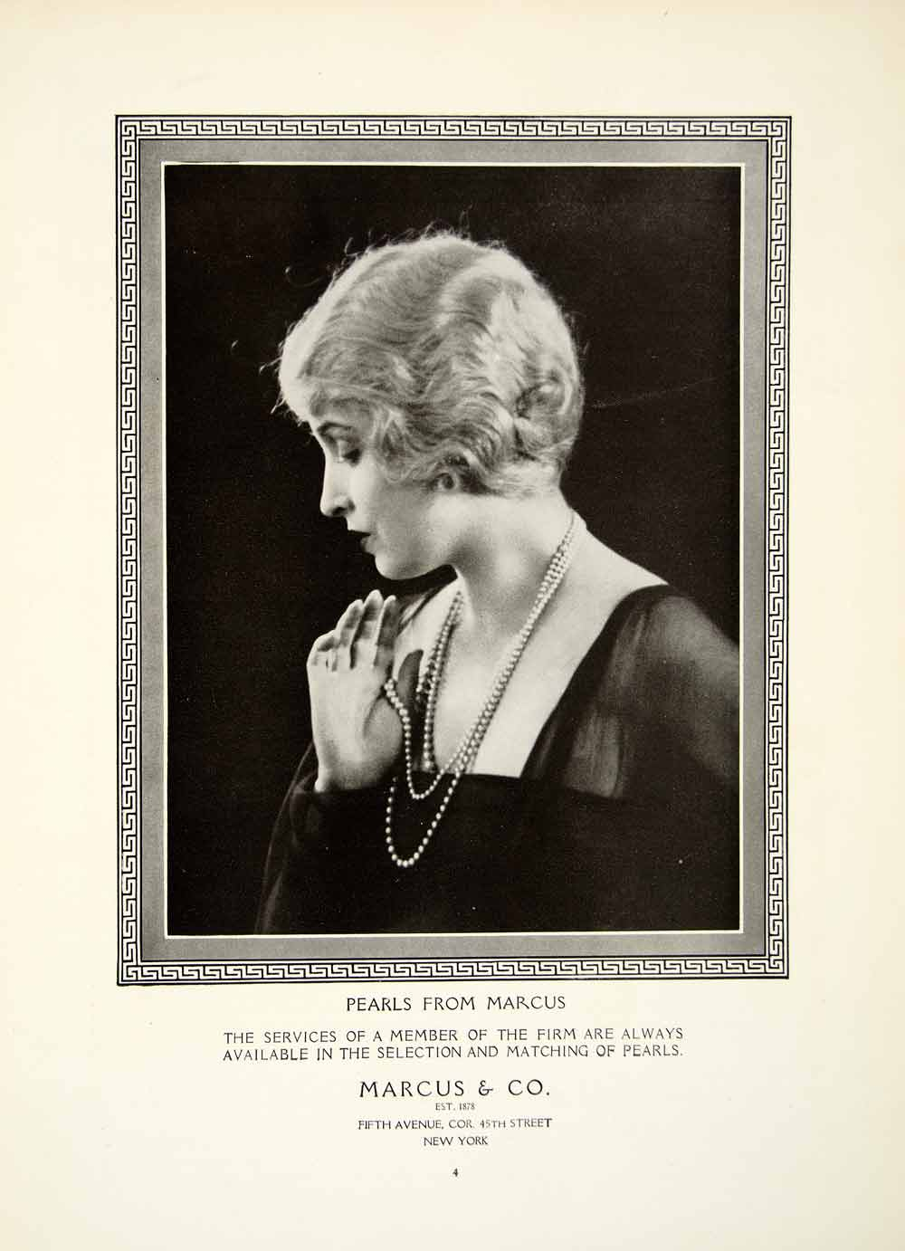 1925 Ad Portrait Woman Marcus Pearls Necklace Jewelry New York Border YTM1