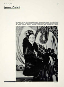 1931 Print Portrait Jeanne Aubert Prince Charming Theater Actress YTM2