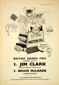 1962 Ad Esso Extra Motor Oil Petroleum British Grand Prix Auto Race Jim YTM5
