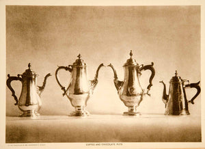 1916 Photogravure Antique Old Silver Coffee Chocolate Pots Silverware YTMM1