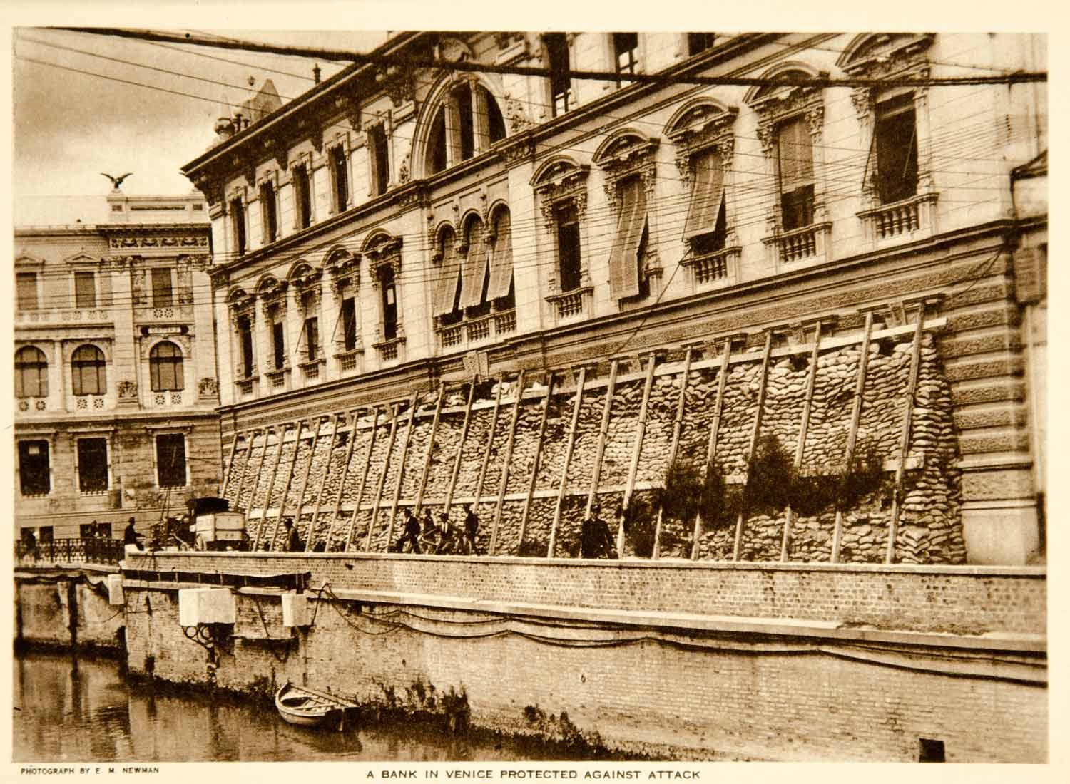 1919 Photogravure Venice Italy Bank Building World War I Sandbags Wartime YTMM2