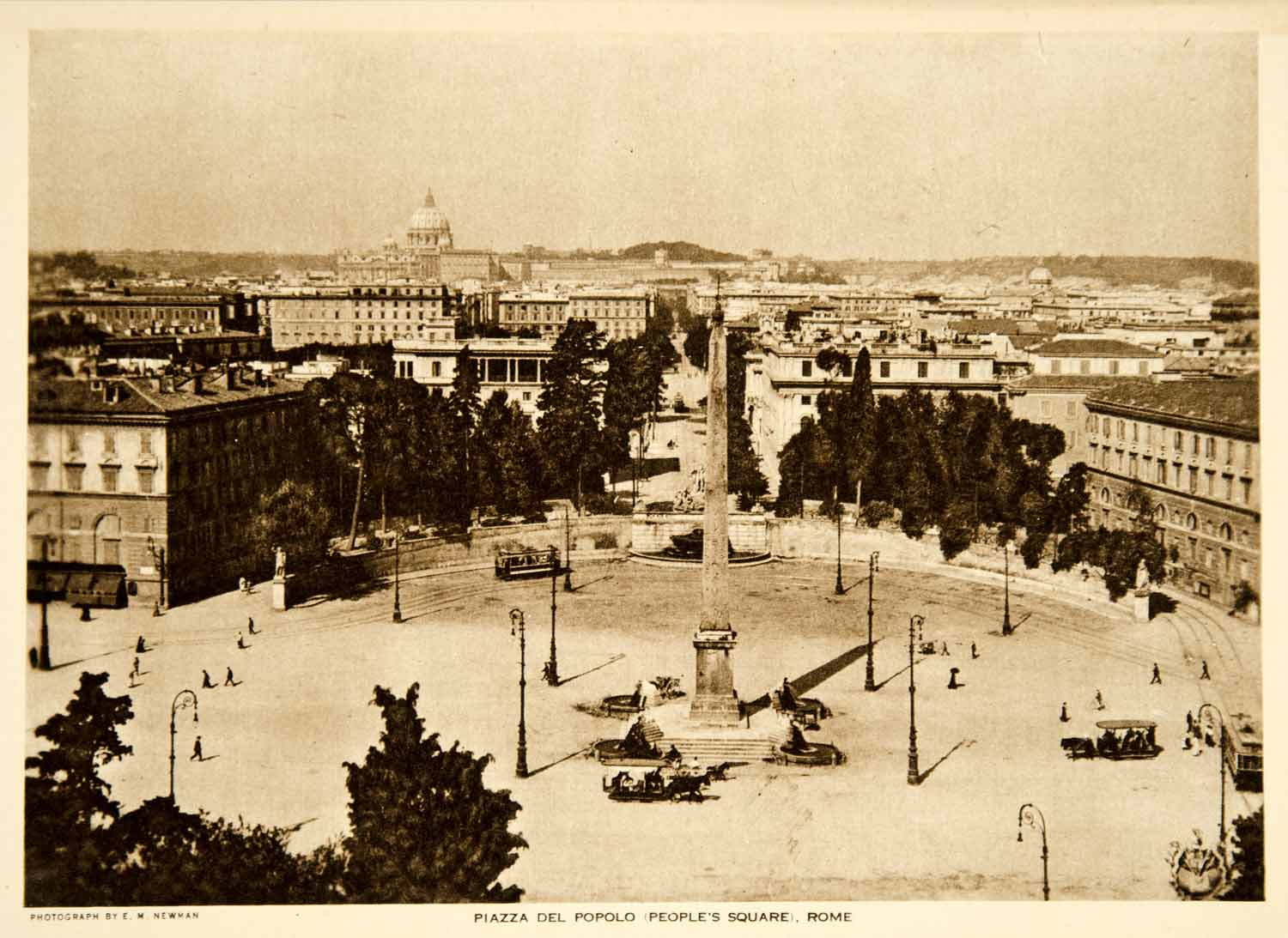 1919 Photogravure Piazza del Popolo People's Square Rome WWI Wartime Italy YTMM2