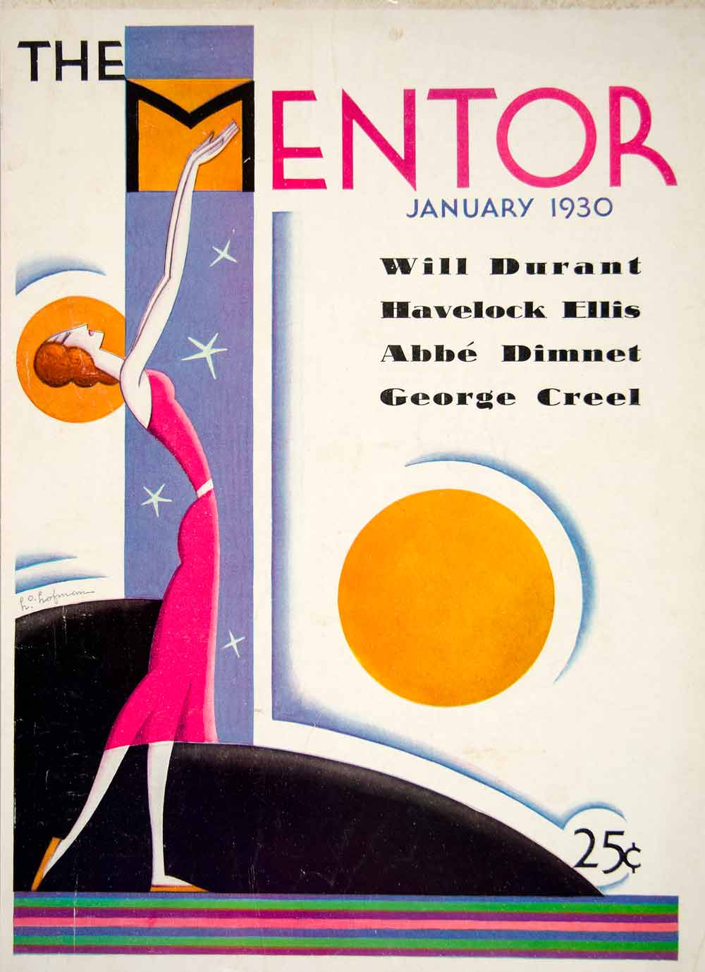 1930 cover the mentor january art deco woman red dress