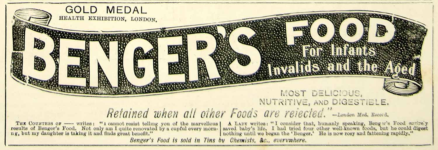 1895 Ad Antique Benger's Food Health Infant Baby Invalids Sick Aged YTQ1