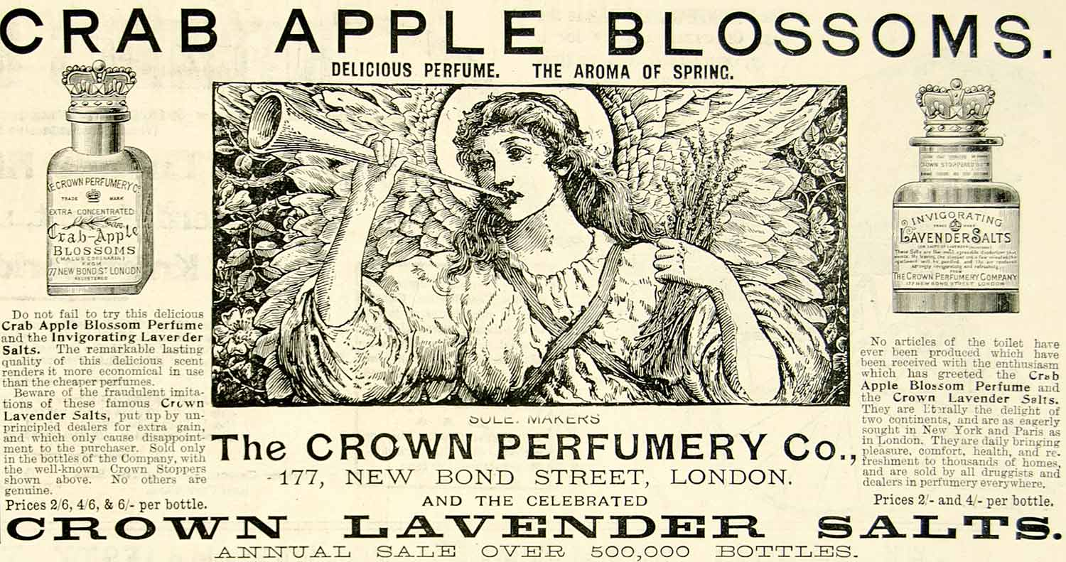 1895 Ad Antique Crown Crab Apple Blossoms Perfume Lavender Salts Victorian YTQ1