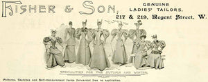 1895 Ad Antique Victorian Fashion Dresses Fisher & Son Ladies' Tailors YTQ1