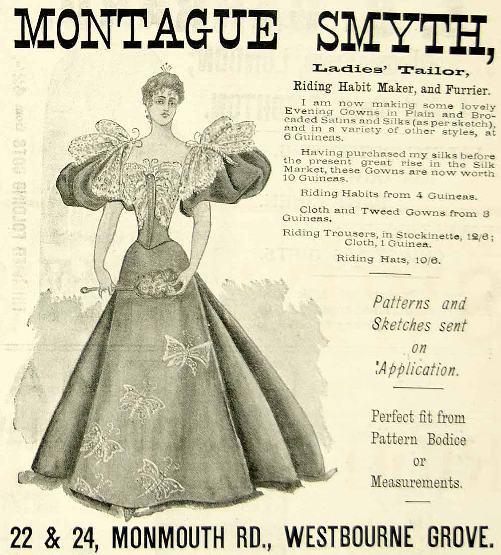 1895 Ad Antique Victorian Lady Fashion Evening Gown Montague Smyth Tailor YTQ1