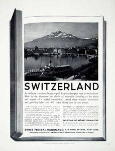 1938 Ad Swiss Federal Railroads 475 Fifth Avenue Switzerland Alps Steamship YTR1