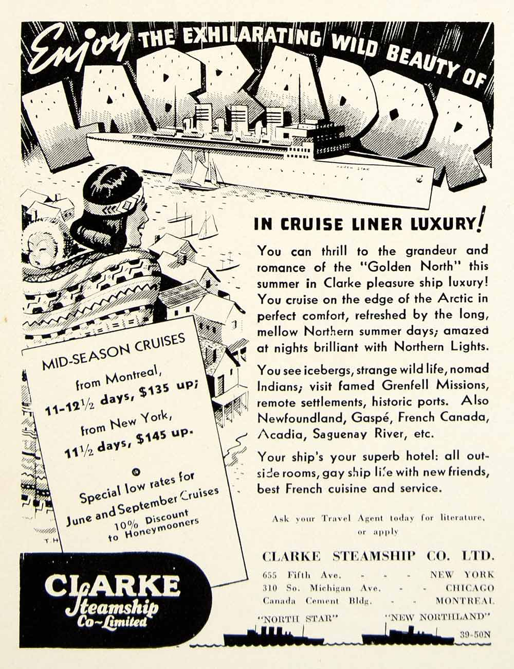1939 Ad Labrador Cruise Liner Clarke Steamship Canada Arctic Inuit Golden YTR1