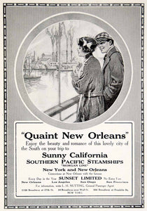 1916 Ad New Orleans Southern Pacific Steamship Travel Morgan Line Sunset YTR2