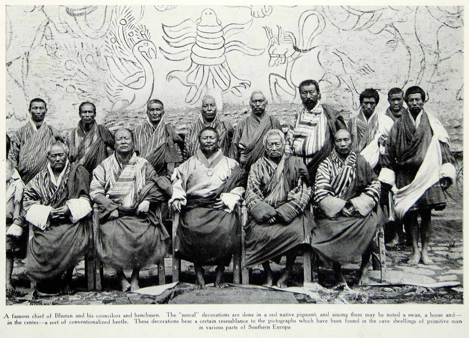 1916 Print Bhutan Chief Councilors Men Costume National Dress Mural Wall YTR2 - Period Paper
