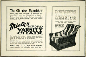1925 Ad Minty's Oxford Varsity Chair 44 High Street Wicker Recliner YTS1