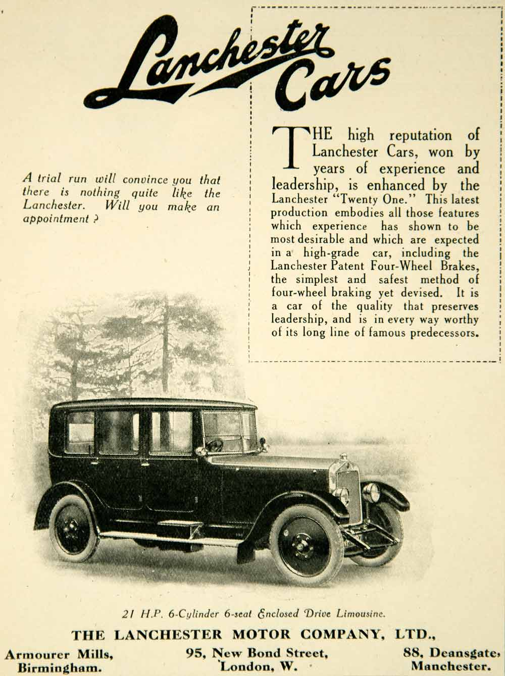 1925 Ad Lanchester Cars Automobile Four-Wheel Brakes 6 Cylinder Armourer YTS1