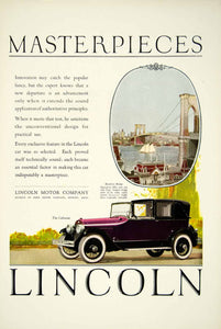 1924 Ad Lincoln 4 Door Cabriolet Classic Luxury Automobile Brooklyn Bridge YTS2