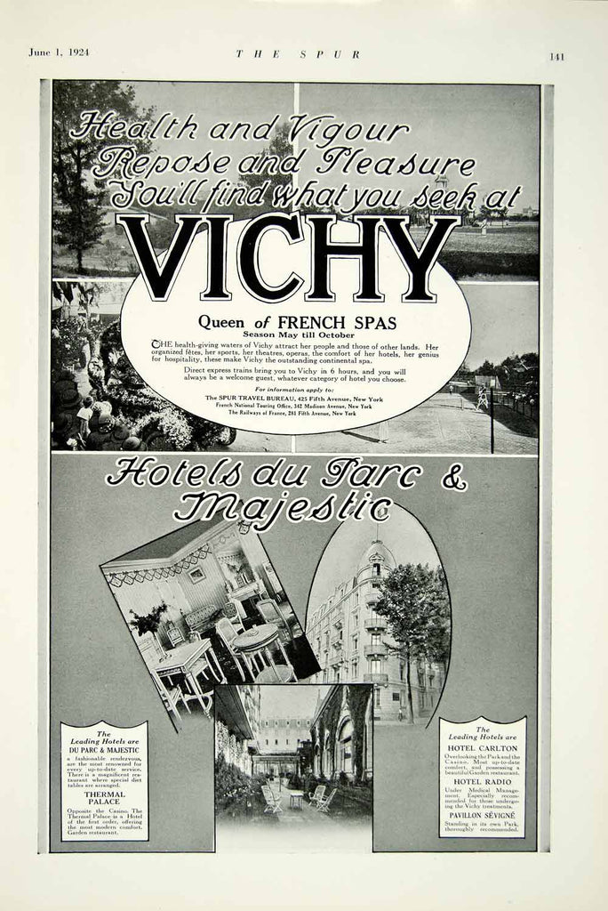 1924 Ad Hotel Du Parc Majestic French Spa Casino Spur Travel