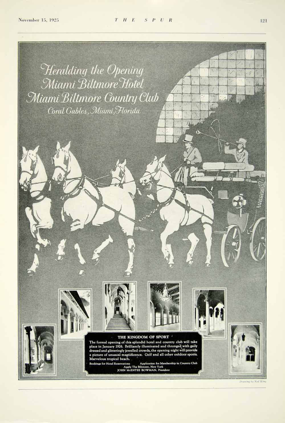 1925 Ad Miami Biltmore Hotel Country Club Horse Carriage Herald Florida YTS2
