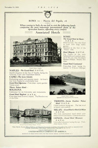 1925 Ad United Hotels Rome Italy Spur Travel Bureau 425 Fifth Ave NY YTS2